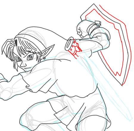 Step 13 : Drawing Link from Legend of Zelda in Easy Steps Lesson