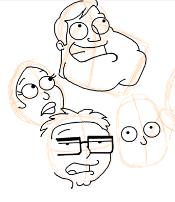 Step 13 : Drawing American Dad Family Step by Step Lesson