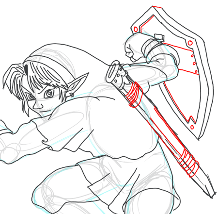 Step 14 : Drawing Link from Legend of Zelda in Easy Steps Lesson