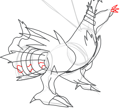 Step 14 : Drawing Reshiram in Easy Step by Step Tutorial