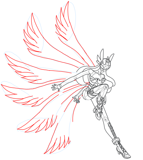 Step 15 : Drawing Angewomon in easy steps tutorial for kids