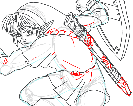 Step 15 : Drawing Link from Legend of Zelda in Easy Steps Lesson