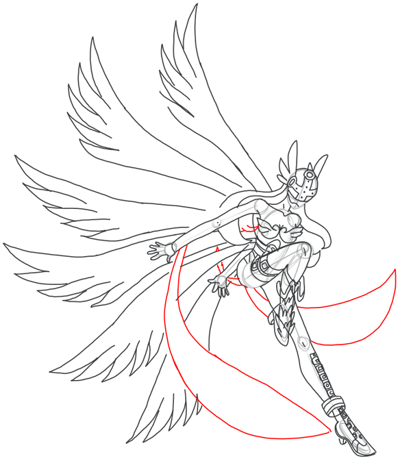 Step 16 : Drawing Angewomon in easy steps tutorial for kids