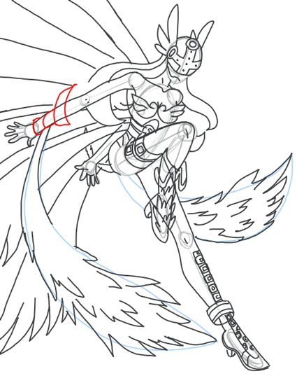 Step 17 : Drawing Angewomon in easy steps tutorial for kids