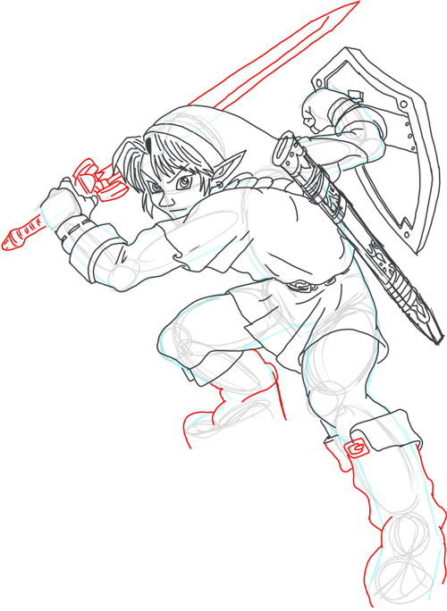 Step 17 : Drawing Link from Legend of Zelda in Easy Steps Lesson