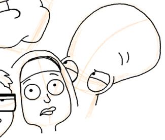 Step 17 : Drawing American Dad Family Step by Step Lesson