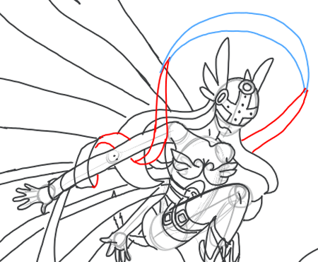 Step 18 : Drawing Angewomon in easy steps tutorial for kids