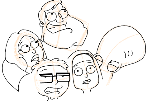 Step 18 : Drawing American Dad Family Step by Step Lesson