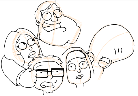 Step 19 : Drawing American Dad Family Step by Step Lesson