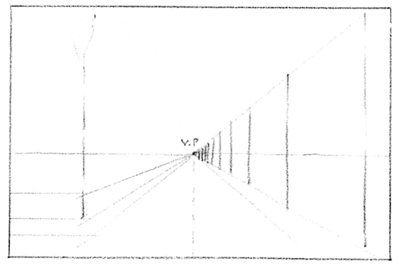 How To Draw Spring Landscape Scene In One Point Perspective Drawing. Step 3 Drawing Road Telephone Poles Trees Barns In 1 Pt Perspective. Worksheet. 2 Point Perspective Worksheet At Clickcart.co