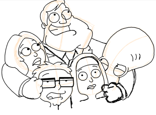 Step 20 : Drawing American Dad Family Step by Step Lesson