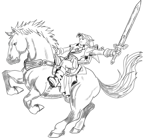How to draw epona and link from the legend of zelda in - Coloriage de link ...