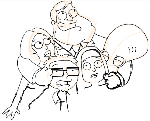Step 21 : Drawing American Dad Family Step by Step Lesson
