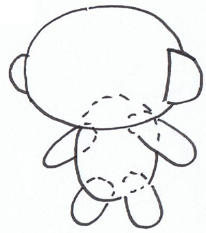 Step 2 : Drawing HoHo Cartoon Monkey in Easy Steps Lesson for Kids