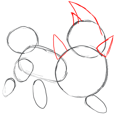 Step 3 : Drawing Zorua in Simple Steps Lesson for Kids