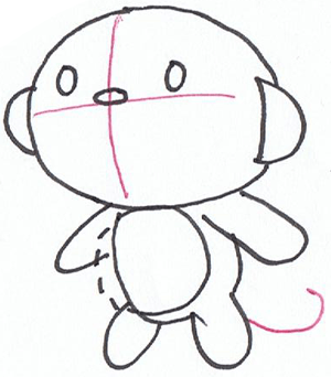 Step 3 : Drawing HoHo Cartoon Monkey in Easy Steps Lesson for Kids