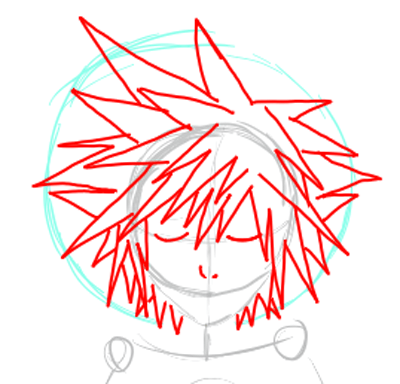 Step 3 : Drawing Sora from Kingdom Hearts Lesson