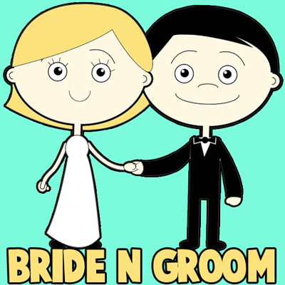 How to Draw Cartoon Bride and Groom Step by Step Drawing Tutorial for Kids
