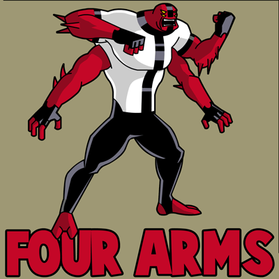 How to Draw Four Arms Alien from Ben 10 with Simple Steps Lesson