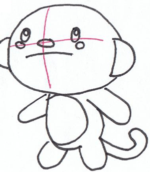 Step 4 : Drawing HoHo Cartoon Monkey in Easy Steps Lesson for Kids