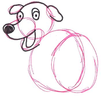 Step 4 : Drawing Martha the Cartoon Dog Step by Step Tutorial