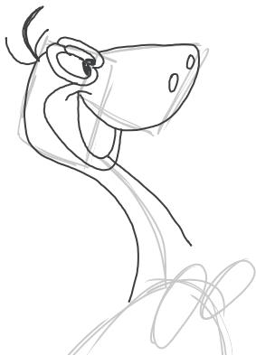 Step 4 : Drawing Dino Dinosaur from the FLinstones Tutorial