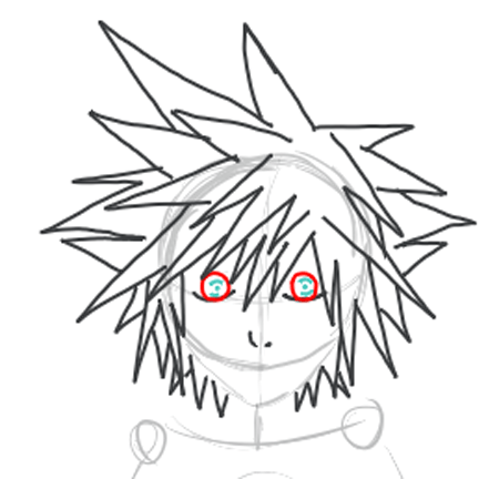 Step 4 : Drawing Sora from Kingdom Hearts Lesson