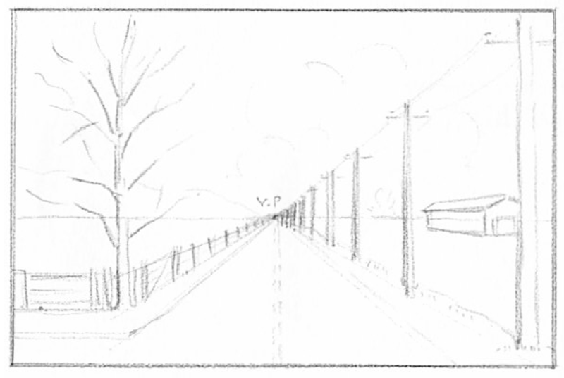 Step 6 : Drawing Road Telephone Poles Trees Barns in 1 Pt Perspective