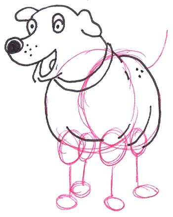 Step 5 : Drawing Martha the Cartoon Dog Step by Step Tutorial