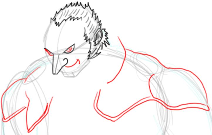 Step 5 : Drawing Ganondorf Step by Step Tutorial