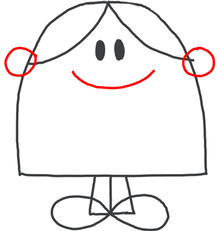 Step 5 : Drawing Little Miss Chatterbox from Mister Men Tutorial