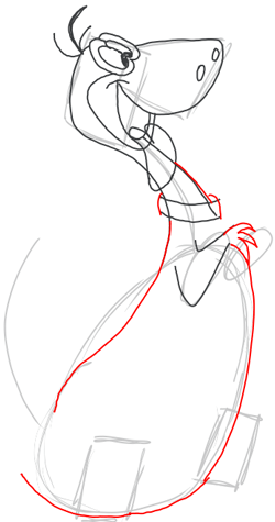Step 6 : Drawing Dino Dinosaur from the FLinstones Tutorial