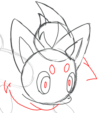 Step 6 : Drawing Zorua in Simple Steps Lesson for Kids