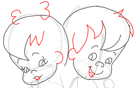 Step 6 : Drawing Pebbles and BamBam Step by Step Drawing Tutorial
