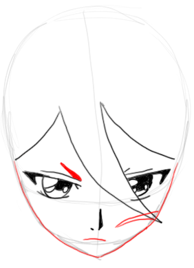 Step 6 : Drawing Rukia Kuchiki in easy Steps Lesson