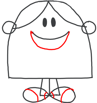 Step 6 : Drawing Little Miss Chatterbox from Mister Men Tutorial