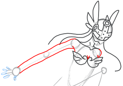 Step 7 : Drawing Angewomon step by step drawing lesson