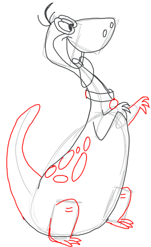 Step 7 : Drawing Dino Dinosaur from the FLinstones Tutorial