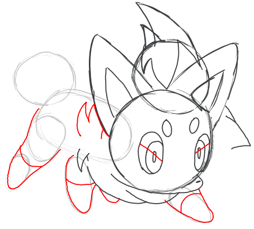 Step 7 : Drawing Zorua in Simple Steps Lesson for Kids
