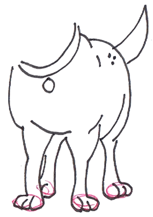 Step 7 : Drawing Martha the Cartoon Dog Step by Step Tutorial