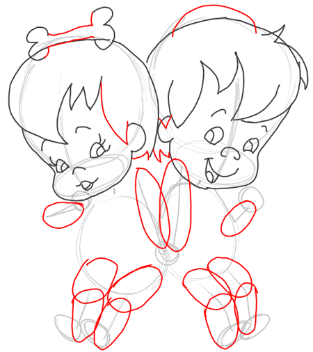 Step 7 : Drawing Pebbles and BamBam Step by Step Drawing Tutorial