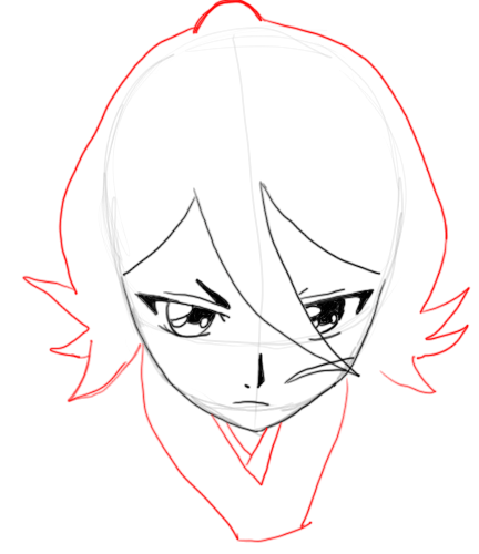 Step 7 : Drawing Rukia Kuchiki in easy Steps Lesson