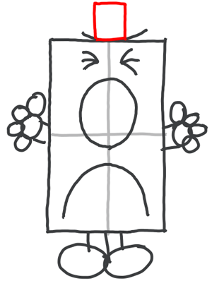 Step 7 : Drawing Mister Grumpy from Mister Men in Easy Steps