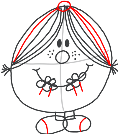 Step 7 : Drawing Little Miss Magic Simple Step by Step Lesson