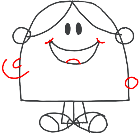 Step 7 : Drawing Little Miss Chatterbox from Mister Men Tutorial