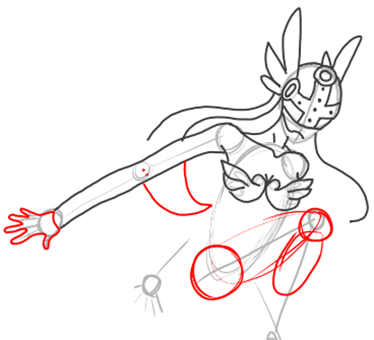 Step 8 : Drawing Angewomon step by step drawing lesson