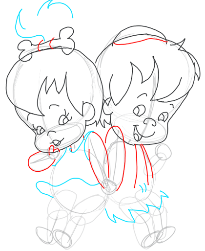 Step 8 : Drawing Pebbles and BamBam Step by Step Drawing Tutorial