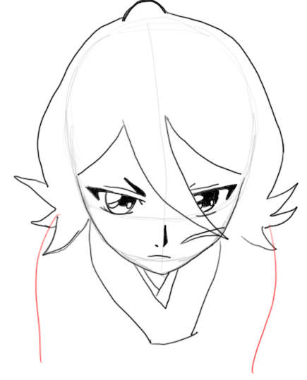 Step 8 : Drawing Rukia Kuchiki in easy Steps Lesson
