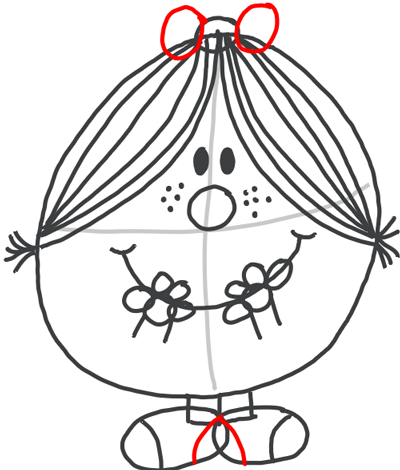 Step 8 : Drawing Little Miss Magic Simple Step by Step Lesson