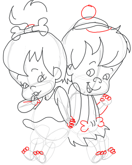 Step 9 : Drawing Pebbles and BamBam Step by Step Drawing Tutorial